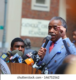 NEW YORK CITY - JULY 20 2013: Reverend Al Sharpton's National Action Network held a memorial vigil for slain Black teen Trayvon Martin at One Police Plaza in Manhattan on July 20 2013 in New York City