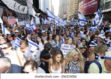 NEW YORK CITY - JULY 20 2014: several thousand supporters of Israeli actions in Gaza staged a rally in Times Square. Crowd filling 7th Avenue