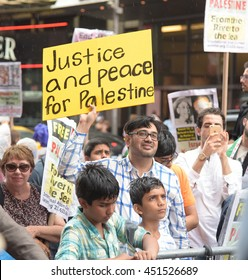 NEW YORK CITY - JULY 2016: Several hundred pro-Palestinian activists gathered in Times Square to mark international Day of Al Quds.