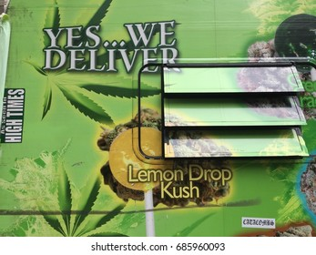NEW YORK CITY - JULY 2017 - Marijuana Truck Dispensary. Weed World Candies sell weed-laced edibles lollipops with no THC tetrahydrocannabinol to people.  Contains cannabidiol