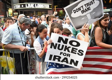 NEW YORK CITY - JULY 22 2015: thousands rallied in Times Square to oppose the President's proposed nuclear deal with Iran. Rally attendees with anti-Iran signs