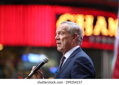 NEW YORK CITY - JULY 22 2015: thousands rallied in Times Square to oppose the President's proposed nuclear deal with Iran. Former NY governor George Pataki speaks out