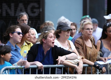 NEW YORK CITY - JULY 22 2015: thousands rallied in Times Square to oppose the President's proposed nuclear deal with Iran. Rally goers express their outrage at anti-Zionist Neturei Karta's presence