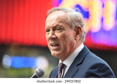 NEW YORK CITY - JULY 22 2015: thousands rallied in Times Square to oppose the President's proposed nuclear deal with Iran. Former NY governor George Pataki