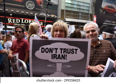 NEW YORK CITY - JULY 22 2015: thousands rallied in Times Square to oppose the President's proposed nuclear deal with Iran.