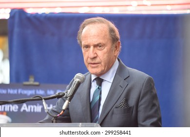 NEW YORK CITY - JULY 22 2015: thousands rallied in Times Square to oppose the President's proposed nuclear deal with Iran. US New & World Report publisher Mortimer Zuckerman