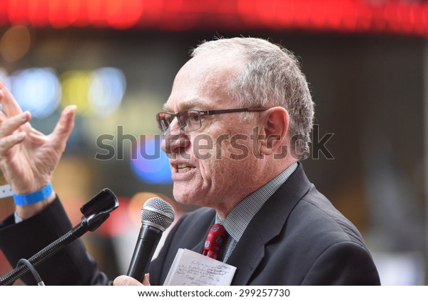 NEW YORK CITY - JULY 22 2015: thousands rallied in Times Square to oppose the President's proposed nuclear deal with Iran. Harvard Law professor Alan Dershowitz.