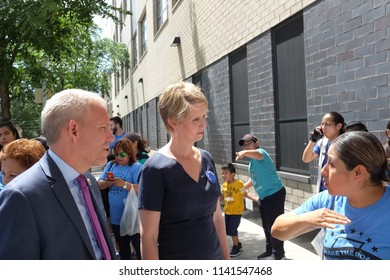 NEW YORK CITY - JULY 24 2018: Gubernatorial candidate Cynthia Nixon was jointed by NYS senate candidate Jessica Ramos & NYC Councilmember Jimmy Van Bramer on a tour of the exteriors of PS 019 & PS 16.