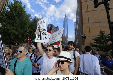 NEW YORK CITY - JULY 25 2014: ADULAH NY, a organization dedicated to divestiture from Israel, staged a protest & march in Lower Manhattan against Israeli actions in Gaza.