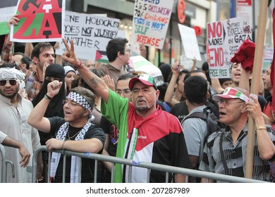 NEW YORK CITY - JULY 25 2014: Al Awda, an organization dedicated to the right of return for all Palestinians to Israel held a rally in Times Square on Al-Quds day, the last Friday of Ramadan