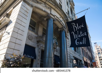 New York City, New York - July 26, 2017 Exterior Entrance of Blue Water Grill, iconic Union Square West seafood restaurant