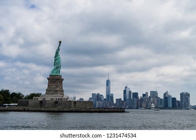 New York City, New York – July 28, 2016:  Statue of Liberty on a cloudy day