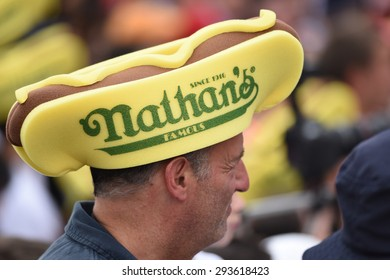 NEW YORK CITY - JULY 4 2015: Nathan's Famous staged its annual fourth of July hot dog eating contest in Coney Island, Brooklyn. Nathan's hat.