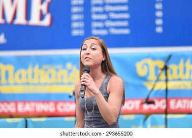 NEW YORK CITY - JULY 4 2015: Nathan's Famous staged its annual fourth of July hot dog eating contest in Coney Island, Brooklyn. Women's division competitors