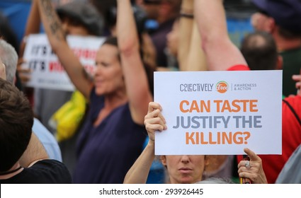 NEW YORK CITY - JULY 4 2015: Nathan's Famous staged their annual fourth of July hot dog eating contest in Coney Island, Brooklyn. Collectively Free protests contest