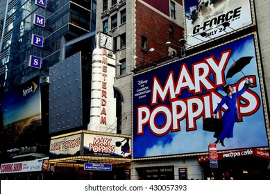 "New York City - July 4, 2009:  The legendary New Amsterdam Theatre on West 42nd Street, home to the Broadway musical ""Mary Poppins"""