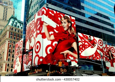 New York City - July 4, 2009:  Billboard in red and white for Target stores in Times Square on 42nd Street at 7th Avenue