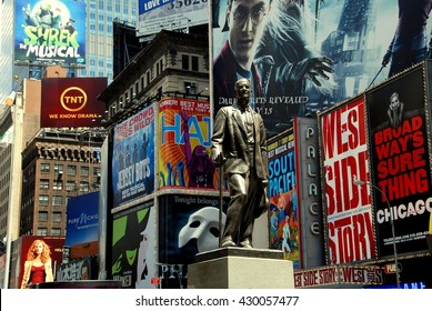 New York City - July 4, 2009:  Statue of famed showman George M. Cohan and huge outdoor billboards promoting Broadway musicals in Times Square