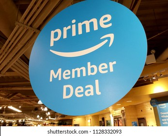NEW YORK CITY: JULY 6, 2018: Amazon Prime members get member deals and 10 percent off Whole Foods sale items and other discounts at stores nationwide. Whole Foods Market (WFM). Amazon (NASDAQ: AMZN)