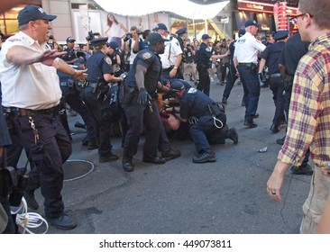 NEW YORK CITY - JULY 7 2016: Several thousand activists rallied & marched to protest recent police-involved shootings in Minnesota & Louisiana. NYPD swarms arrestee