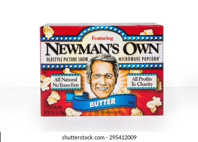 NEW YORK CITY - JULY 9, 015:  Box of Newman's Own microwave popcorn against a white background