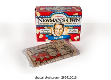 NEW YORK CITY - JULY 9, 015:  Box and package of Newman's Own microwave popcorn against a white background