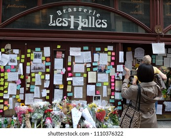 NEW YORK CITY - JUN 11 2018: Memorial outside of Les Halles Brasserie for the late celebrity chef and author Anthony Bourdain. He worked here in the 1990s. This location closed in 2016.