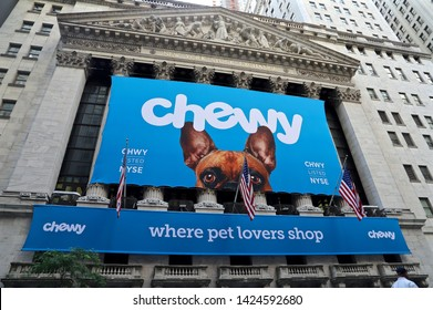 NEW YORK CITY JUN 14 2019: Chewy(the online pet product retailer owned by PetSmart )'s initial public offering (IPO)at the New York Stock Exchange (NYSE)