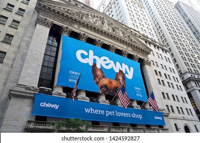 NEW YORK CITY JUN 14 2019: Chewy(the online pet product retailer owned by PetSmart)'s initial public offering (IPO)at the New York Stock Exchange (NYSE) .