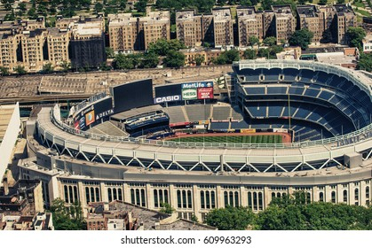 NEW YORK CITY - JUN 14: Yankee Stadium aerial view from Helicopter, June 14, 2013 in NYC. It is the home ballpark for the New York Yankees, one of the city's Major League Baseball (MLB) franchises.