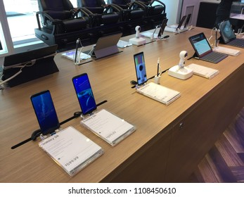 NEW YORK CITY: June 1, 2018: The Samsung Galaxy S8, Galaxy S8+, Note8, Gear 360 on display. They are produced by Samsung Electronics as their eighth generation of the Samsung Galaxy S series.