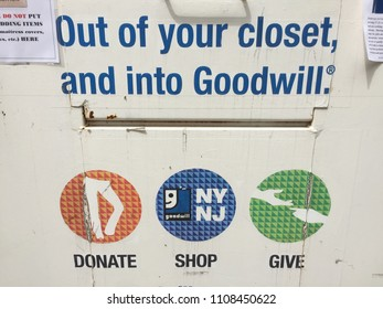 NEW YORK CITY: June 1, 2018: A Goodwill donation box located in Manhattan. It is a American nonprofit 501(c)(3) organization that provides job training, employment placement services, community-based