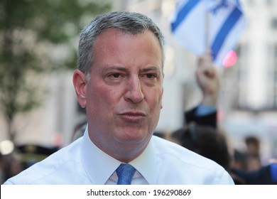 NEW YORK CITY - JUNE 1 2014: The 50th annual Israel Day Parade filled Fifth Avenue with politicians, revelers & a few protestors marking Israel's 66th anniversary. Close up of Mayor Bill de Blasio