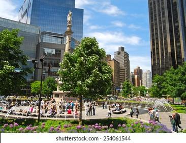 New York City - June 1, 2009: Columbus statue at Columbus Circle in NYC on June 1, 2009.