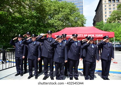 NEW YORK CITY - JUNE 1 2016: Mayor de Blasio & Commissioner Daniel Nigro presided over FDNY medal day on the steps of city hall.