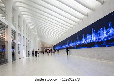 NEW YORK CITY - JUNE 10, 2017:  Interior view of the Oculus in downtown Manhattan.