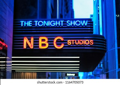 New York City, New York.  June 10, 2017.  The iconic tonight show marquee at NBC Studios in Manhattan New York City lit up at night.