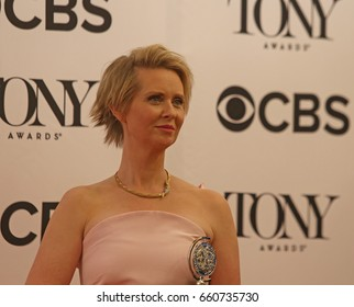 NEW YORK CITY - JUNE 11 2017: the 71st annual Tony Awards recognized the best in live theater. Cynthia Nixon with award for Lillian Hellman's Little Foxes