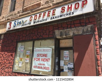 NEW YORK CITY - JUNE 12, 2018: A Manhattan coffee shop diner closes down permanently. Many retail and restaurants are going out of business due to e-commerce, Amazon and ordering out.