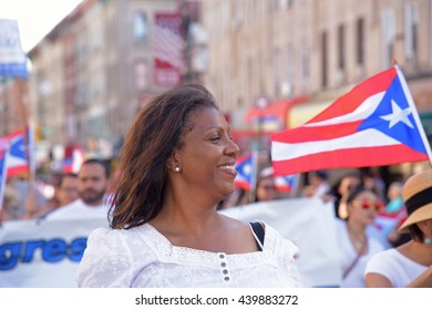 NEW YORK CITY - JUNE 12 2016: thousands filled the streets of Manhattan & Brooklyn to celebrate NYC's 59th annual Puerto Rico Day. NYC public advocate Letitia James