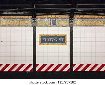 New York City - June 13, 2018: Fulton Street Subway Station on the NYC Subway in New York City.