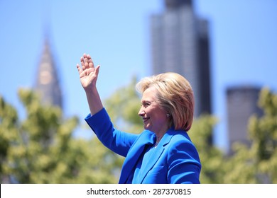 NEW YORK CITY - JUNE 13 2015: former secretary of state Hillary Rodham Clinton formally announced her intention to seek the 2016 Democratic nomination for president during a rally on Roosevelt Island