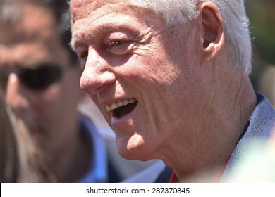 NEW YORK CITY - JUNE 13 2015: Bill Clinton supports his wife and former secretary of state Hillary Rodham Clinton as she formally announces her intention to seek the 2016 Democratic nomination for president during a rally on Roosevelt Island