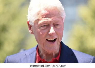 NEW YORK CITY - JUNE 13 2015:Bill Clinton supports his wife and former secretary of state Hillary Rodham Clinton as she formally announces her intention to seek the 2016 Democratic nomination for president during a rally on Roosevelt Island