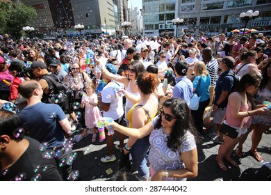 NEW YORK CITY - JUNE 13 2015: happn, sponsors of the Washington Square pillow fight, staged a bubble battle inspired by a Dr Seuss classic at Union Square Park attended by hundreds.
