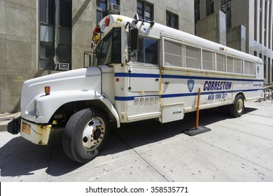NEW YORK CITY- JUNE 13, 2015: Correction Department bus parked in front of New York City Criminal Court