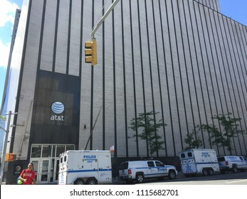 NEW YORK CITY - june 14, 2018: AT&T building stands tall in Manhattan. AT&T just completed acquisition of Time Warner to compete with Netflix and other media companies