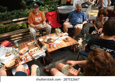 NEW YORK CITY - JUNE 14 2015: Big Apple Barbecue hosted its annual Barbecue Block Party in Madison Square Park drawing thousands of visitors