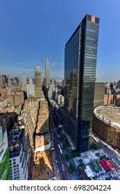 New York City - June 14, 2017: New York City skyline view from midtown Manhattan.