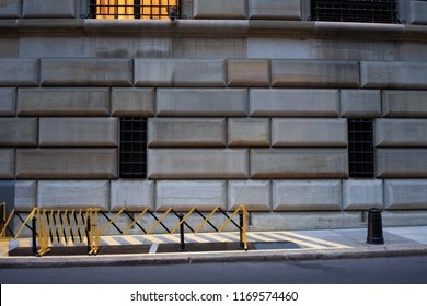 New York City - June 15, 2018: The wall relief of the Federal Reserve Bank in NYC.